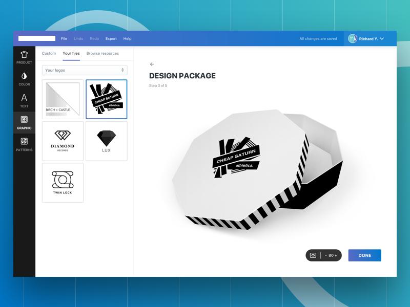 Package Designer Concept editor app ui web generator maker icon logo brand design package