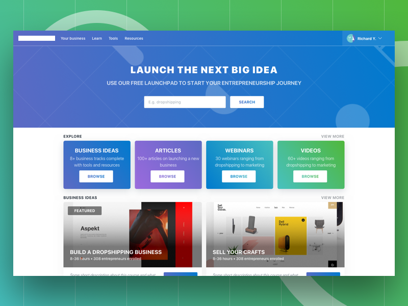 Launchpad Concept learn online course coursera card tile business web website site ui ux