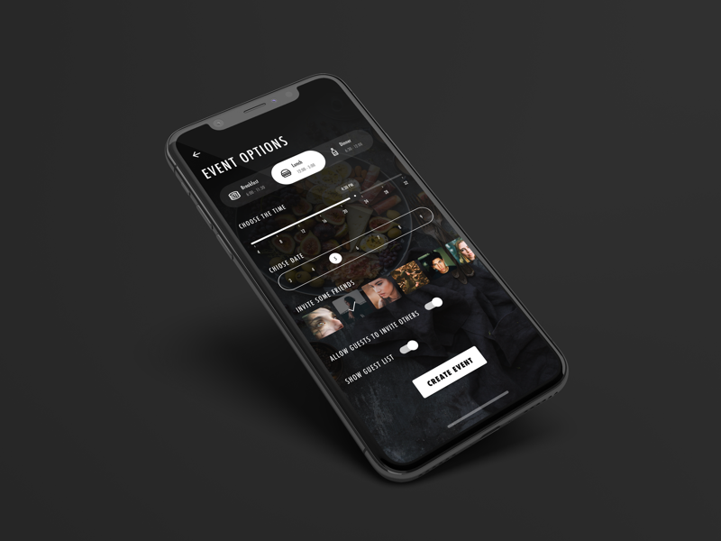 Edit Event Options Screen filter friend invite plan meal food option event ios iphone mobile dark