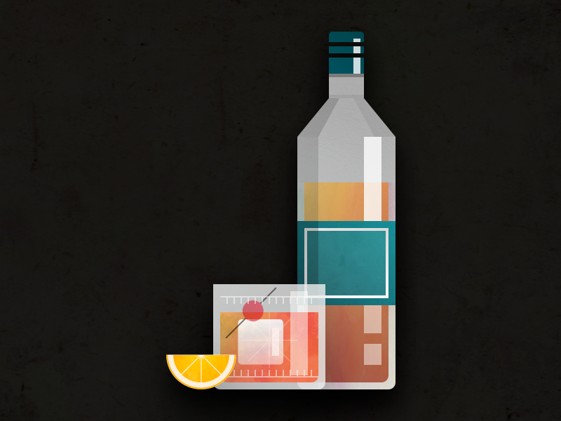 Old Fashioned booze drink texture flat logo icon vector illustration alcohol bourbon fashioned old