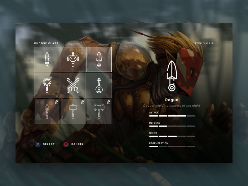Character Selection 1.1 character selection video game rpg role ui menu onboard class pick