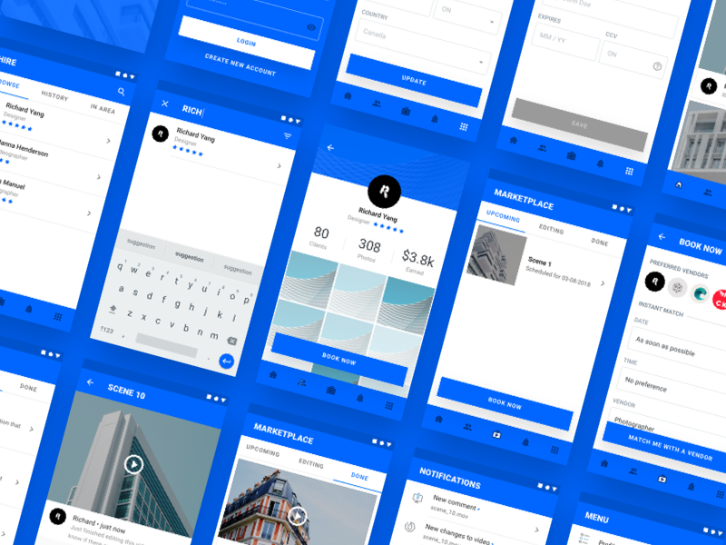 Material Booking App Concept (WIP) Cont'd ui ux app view tile video book shape android google material