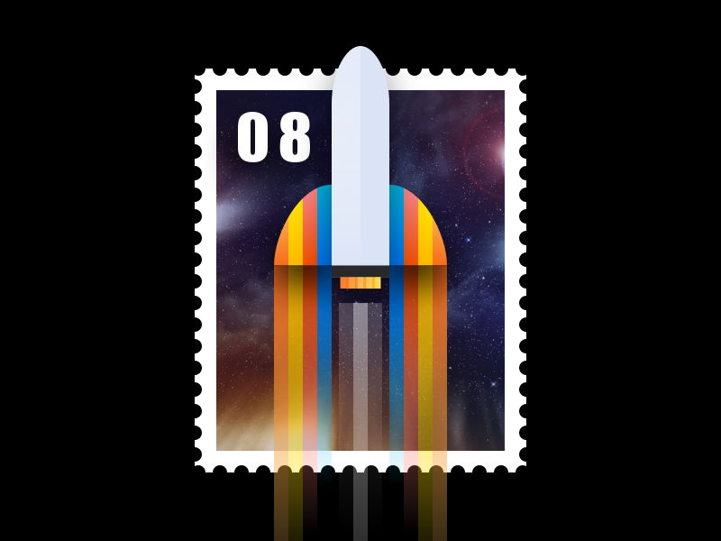 Rocket Stamp logo icon flat planet fire vector illustration space rocket stamp