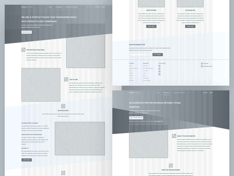 Wireframes wireframe website web site real modern house home estate tech startup abstract