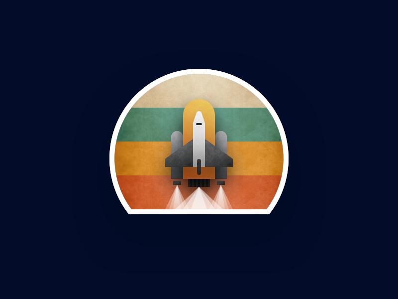 Vintage Rocket Stamp logo flat icon illustration vector sticker launch space rocket vintage