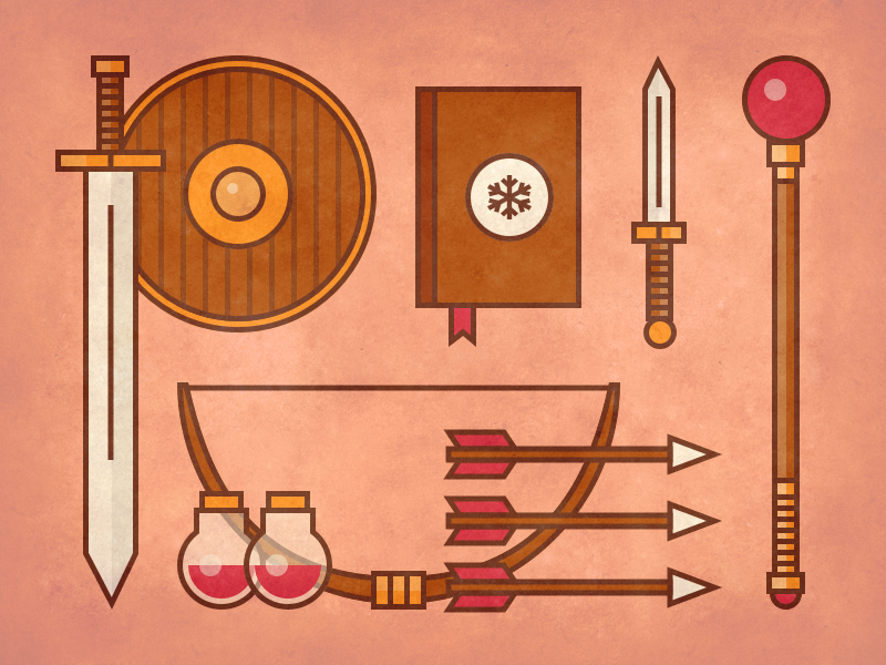 RPG Weapons logo icon vector illustration game bow arrow potion magic sword weapon rpg