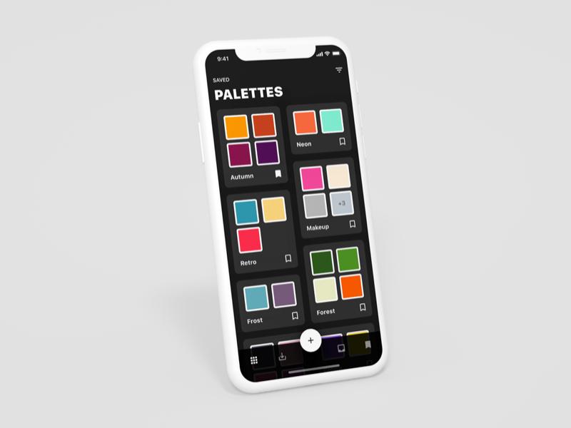 Color Palette Saver –Dark mode dark color colour hunt palette ios iphone x app ui interface