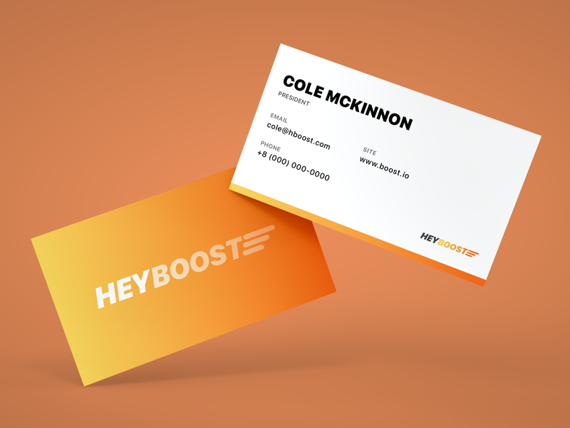 Boost Business Card boost growth icon logo mark illustration vector mockup business card