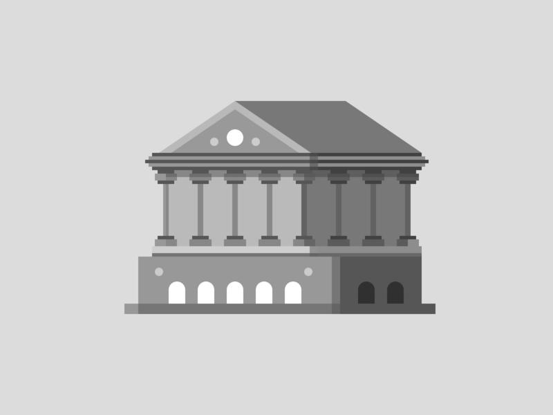 Temple Illustration greek bank tower black monochrome building temple brand vector branding minimal logo icon flat illustration