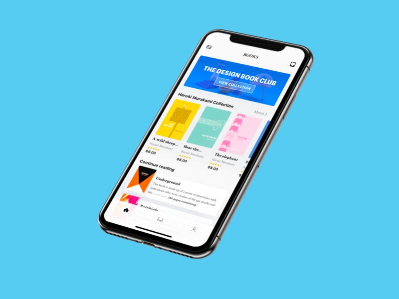 Mobile E-Book Concept sketch color modern browse app ui minimal book app read book iphonex iphone mobile