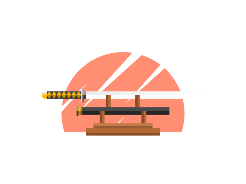 Katana Final japanese japan rpg game weapon katana sword branding minimal logo icon flat illustration
