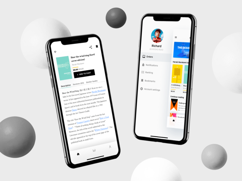 Mobile E-Book Concept (Continued) ebook ux design tab preview profile write text read book menu iphone mobile ui ios app minimal
