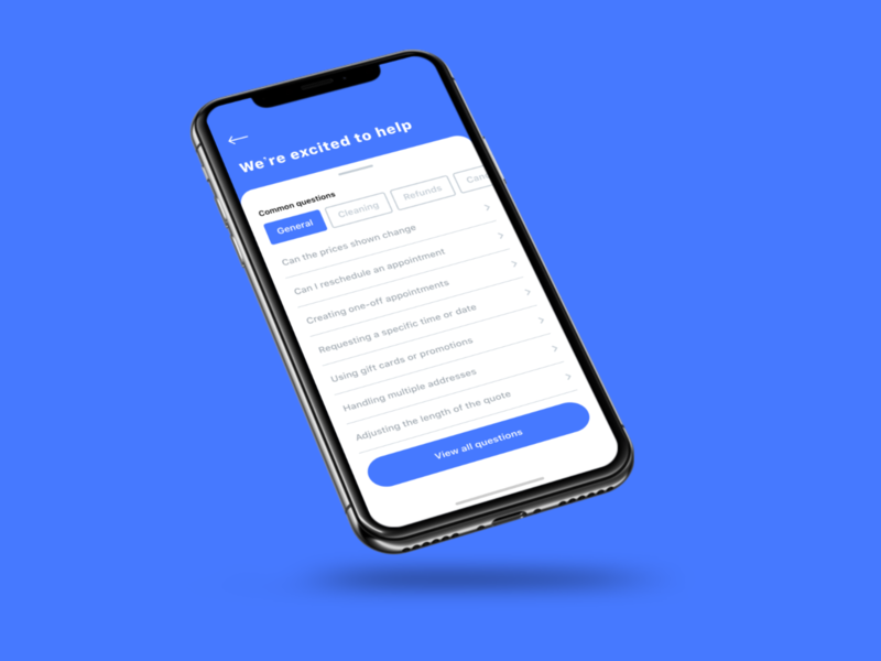 Common Screen (WIP) view faq frequent questions asked common ux flat minimal ios ui design