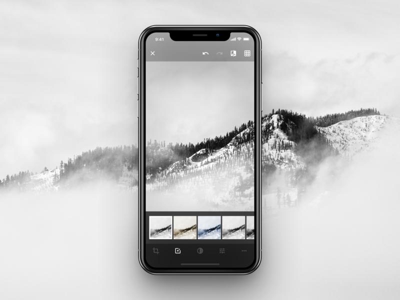 Minimal Photo Edit interface design ux ui app concept app iphone ios videoapp video editing edit minimal app photo background photo app photo minimal