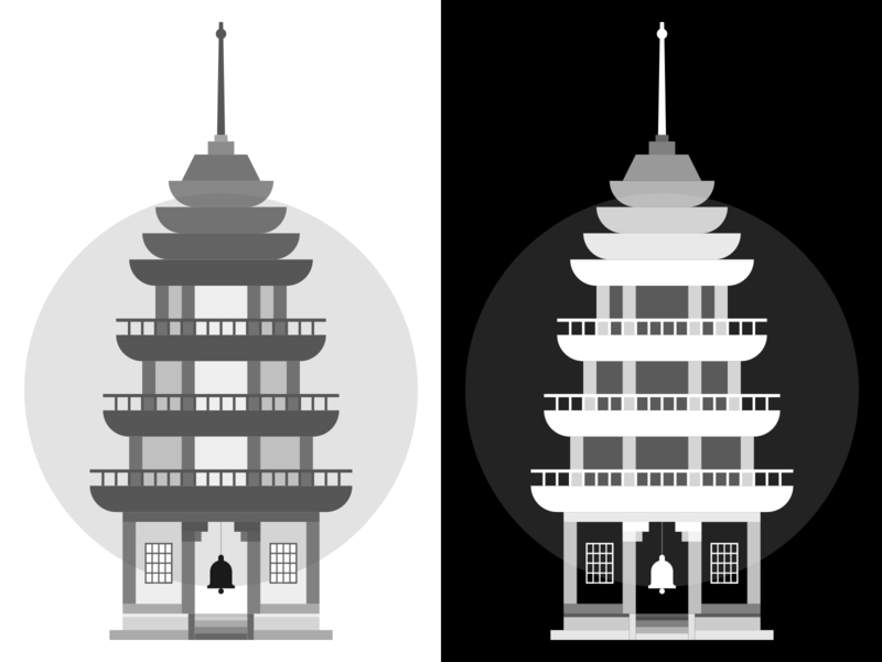 Pagoda Illustration (WIP) silhoutte shadow black  white black monochrome minimal app vector minimal logo icon flat illustration illustrator tower japanese japan building pagoda