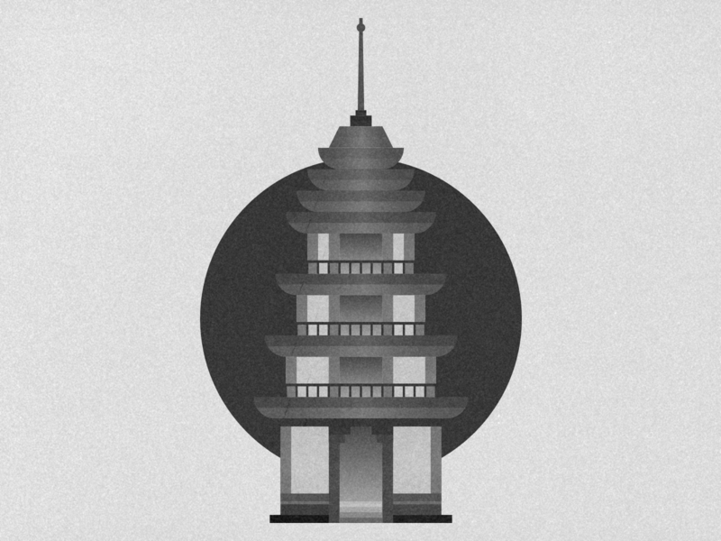 Grain Texture Pagoda japanese japan monochrome black  white black vintage texture grain building tower pagoda vector minimal logo icon flat illustration