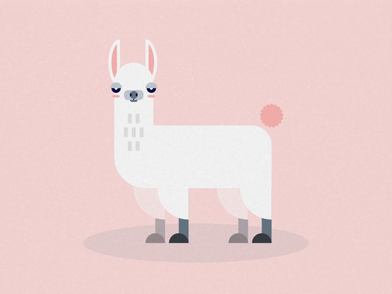 Judgemental Alpaca geometric shape cute llama alpaca animal pink vector logo icon illustration flat