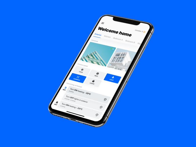 Smart Home Control Panel app flat interface ui ios iphone blue house modern minimal color temperature control panel control iot home smart
