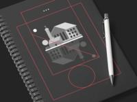 Minimal Floating House Notebook