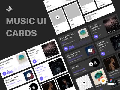 Music Card Kit   Light And Dark Theme