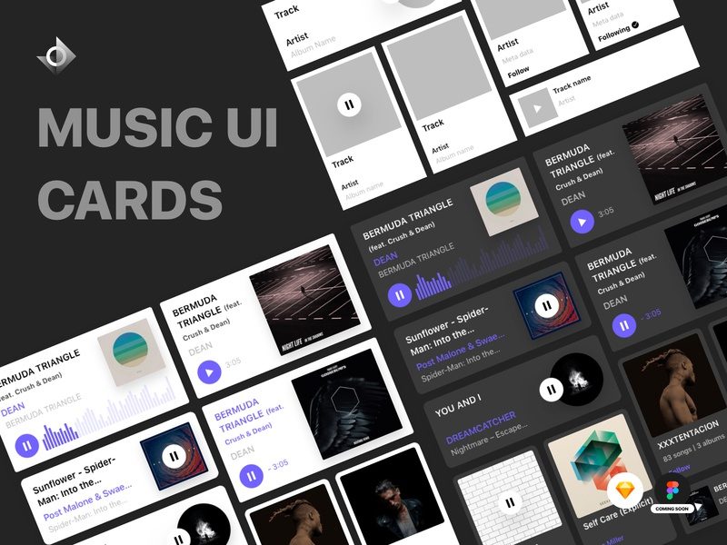 Music Card Kit   Light And Dark Theme chart streaming flat source file sketch vector component listen artist video stream cards website app music uikit ui card