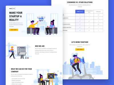 Codemode Landing Page (made with Stubborn Illustrations)