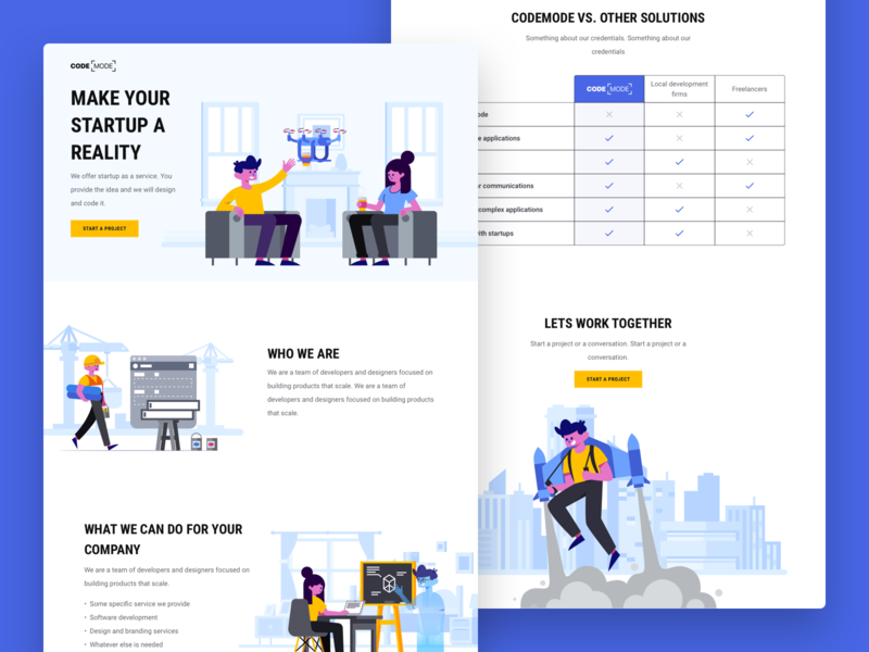 Codemode Landing Page (made with Stubborn Illustrations) developer software branding minimal creative blue illustration product branding freelancer shop product firm website landing page landing codemode