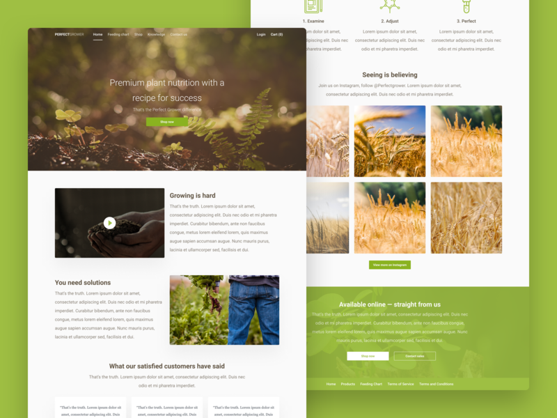 Growing Nutrient Landing Page for PerfectGrower home screen home page desktop responsive website landing page nutrient growth soil product figma web line garden grow ecommerce shop ecommerce minimal
