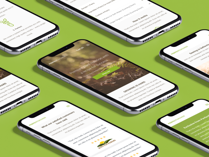 Growing Nutrient Landing Page for PerfectGrower—Mobile farm grower perfect minimal ecommerce ecommerce shop grow garden web figma product soil growth nutrient landing page website responsive desktop home page home screen