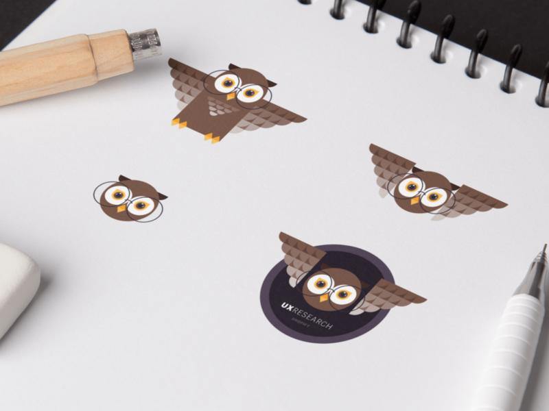 User Research Sticker branding vector icon minimal illustration flat bird cute animal character geometric cute print sticker owl logo uxr research user