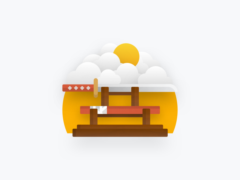 Katana & Clouds Textured Sticker