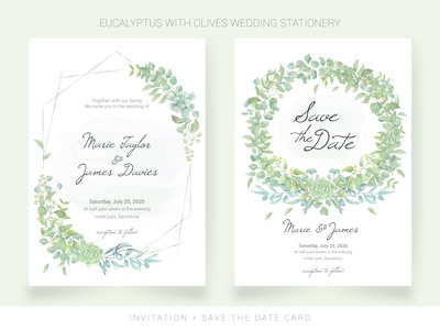 Menu, Table card, Place card with watercolor leaves
