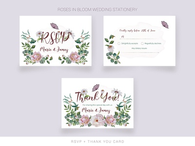 Wedding RSVP card and thank you card