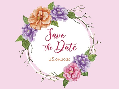Watercolor floral wedding frame