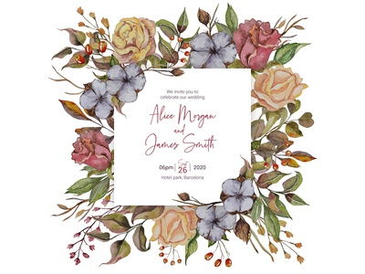 Autumn wedding invitation with roses and cottons