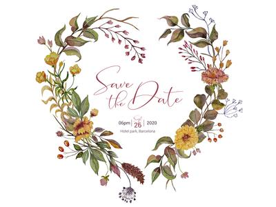 Wedding invitation with autumn heart wreath