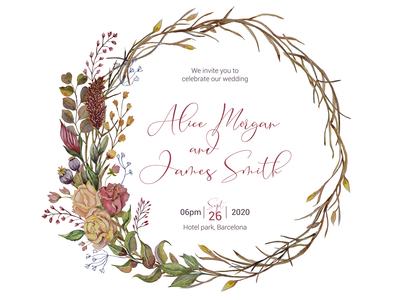 Wedding invitation with autumn watercolor decoration