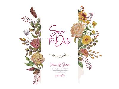 Autumn watercolor invitation card