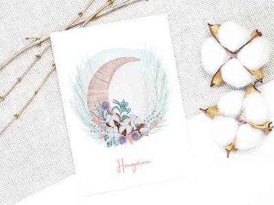 Honeymoon with cotton flowers