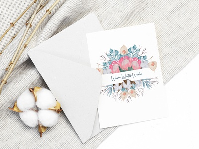 Greeting card with flowers and eucalyptus