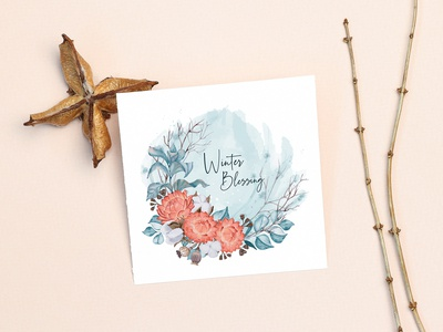 Winter card with red flowers