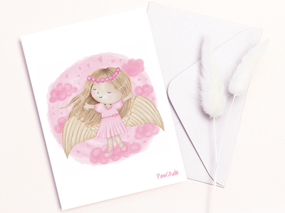 Cute angel with pink clouds