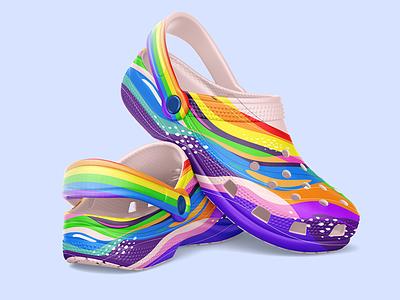 Pride-Themed Crocs Shoe Design Mockup footwear design crocs shoes shoe design mock up graphic design design