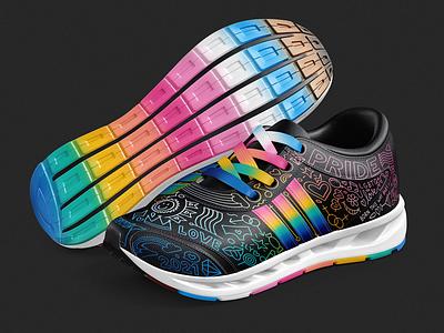 Pride-Themed Ultraboost Shoe Design Mockup pride design pride athletic shoe design mock up shoe design graphic design design