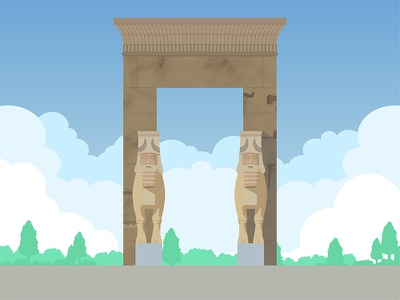 Gate of All Nations vector perspolis shiraz iran gate of all nations