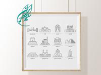 Iranian monuments icons