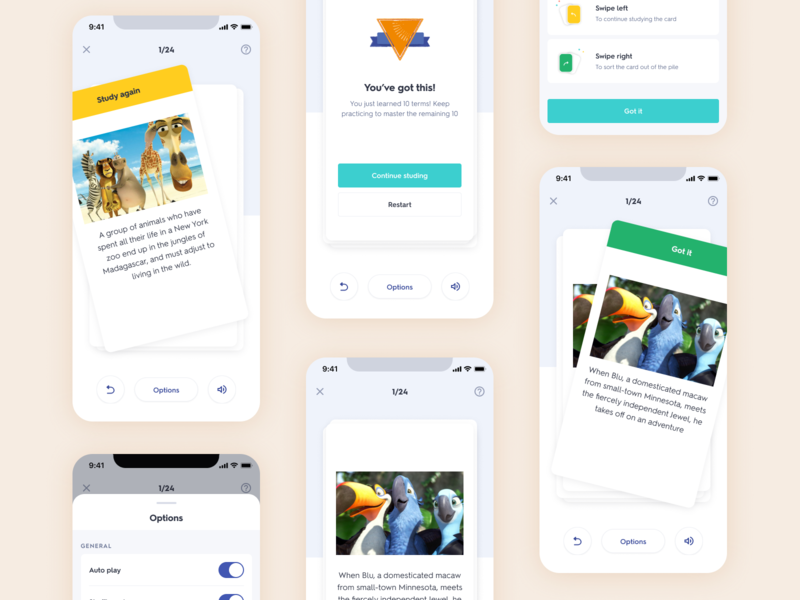Digtial Flashcards product design mobile learn study native quizlet swipe right swipe edtech education android ios cards flashcards
