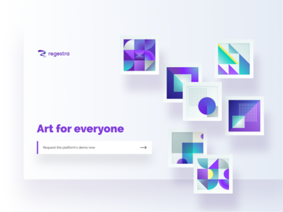 regestra new homepage purple geometic abstract art art platform landing page art gallery illustration homepage regestra