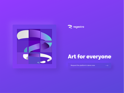 Regestra new homepage second idea regestra landing page purple illustration homepage art platform art gallery abstract art