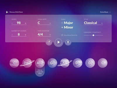 Chord Progressor uidesign space planet music app chords